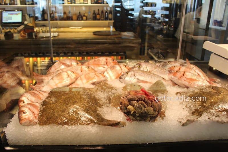 Expositor de pescado del restaurante Antonio en Zahara