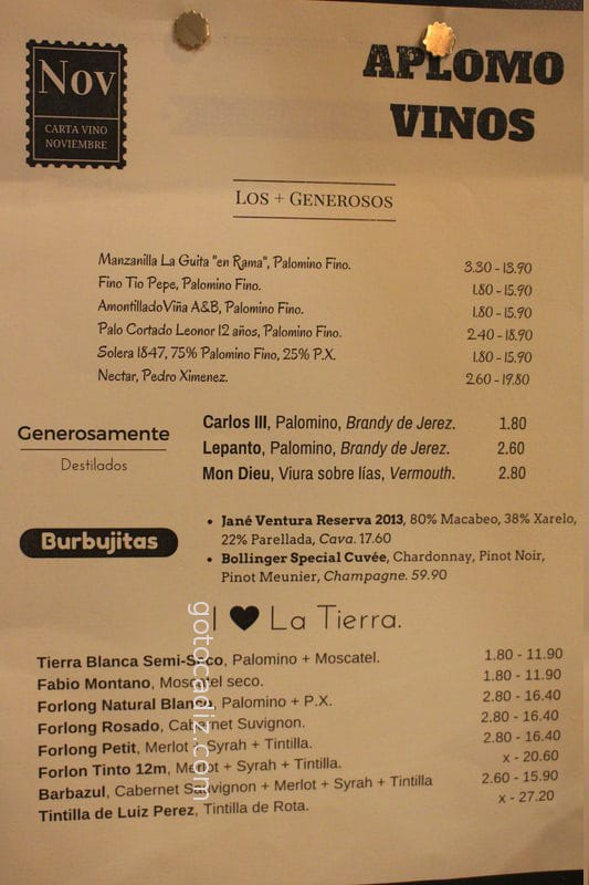 Carta de vinos de Aplomo