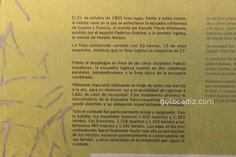 Cartel explicativo en el Faro de la batalla de Trafalgar