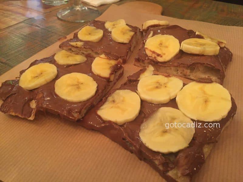 Pizza de chocolate y plátano de la Bicicletta Taglio-Bar