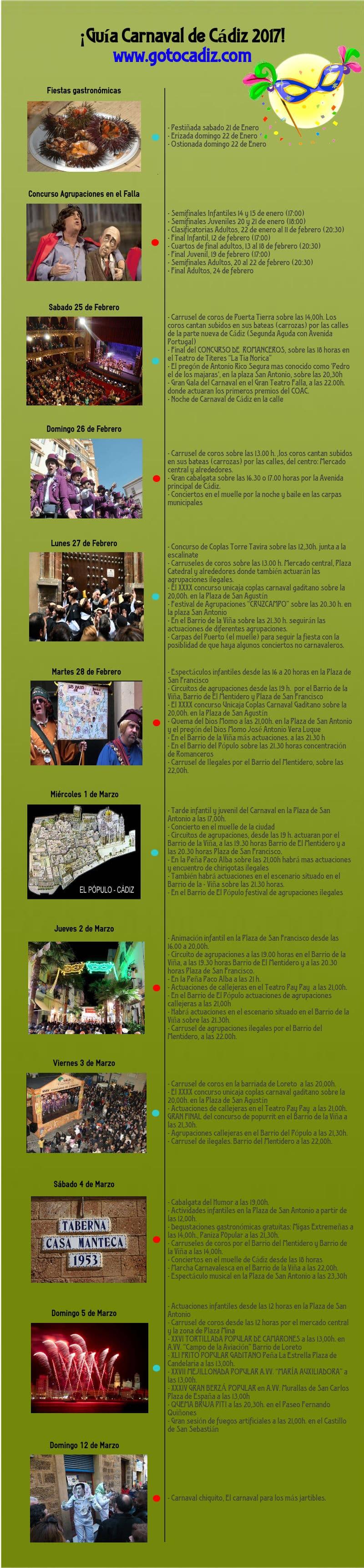 Eventos del Carnaval de Cádiz 2017