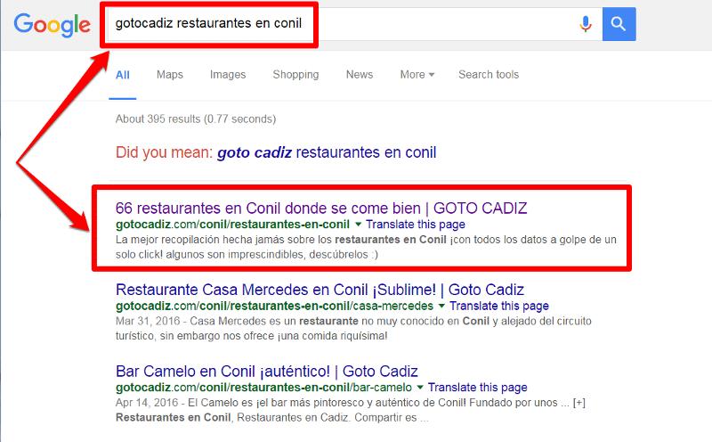 Como buscar restaurantes de una localidad en Goto Cadiz