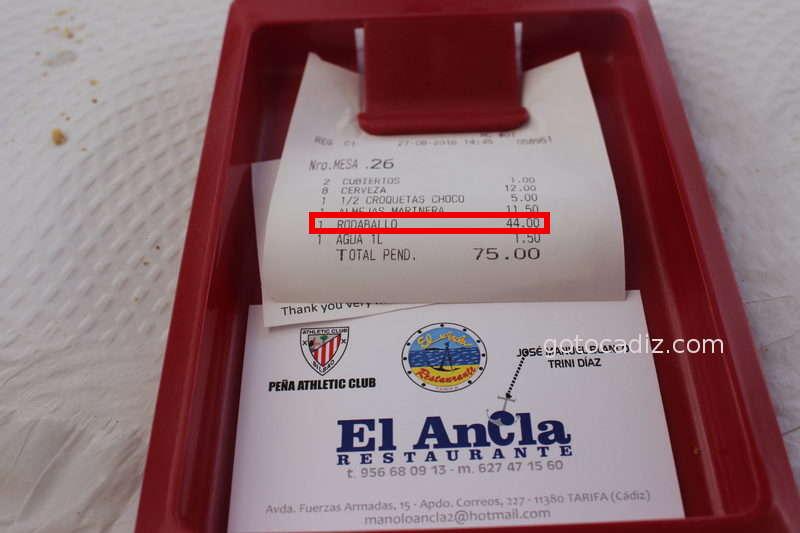 Cuenta para 2 comensales en El Ancla