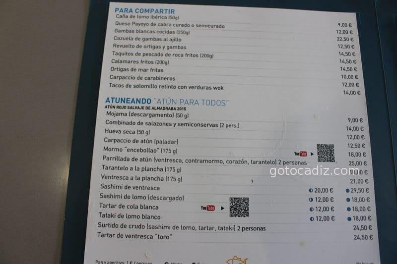 Carta de tapas de la barra de El Campero Barbate