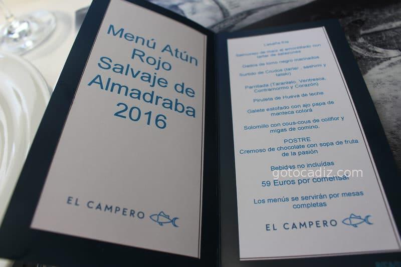 El menú cerrado de atún del 2016 de El Campero Barbate