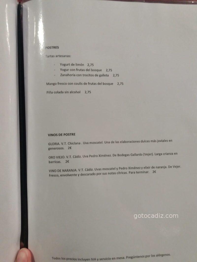 Carta de comida de El Cantón de Chiclana 3/3