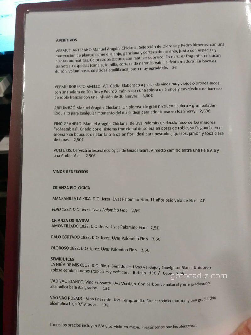 Carta de vinos de El Cantón de Chiclana 1/3