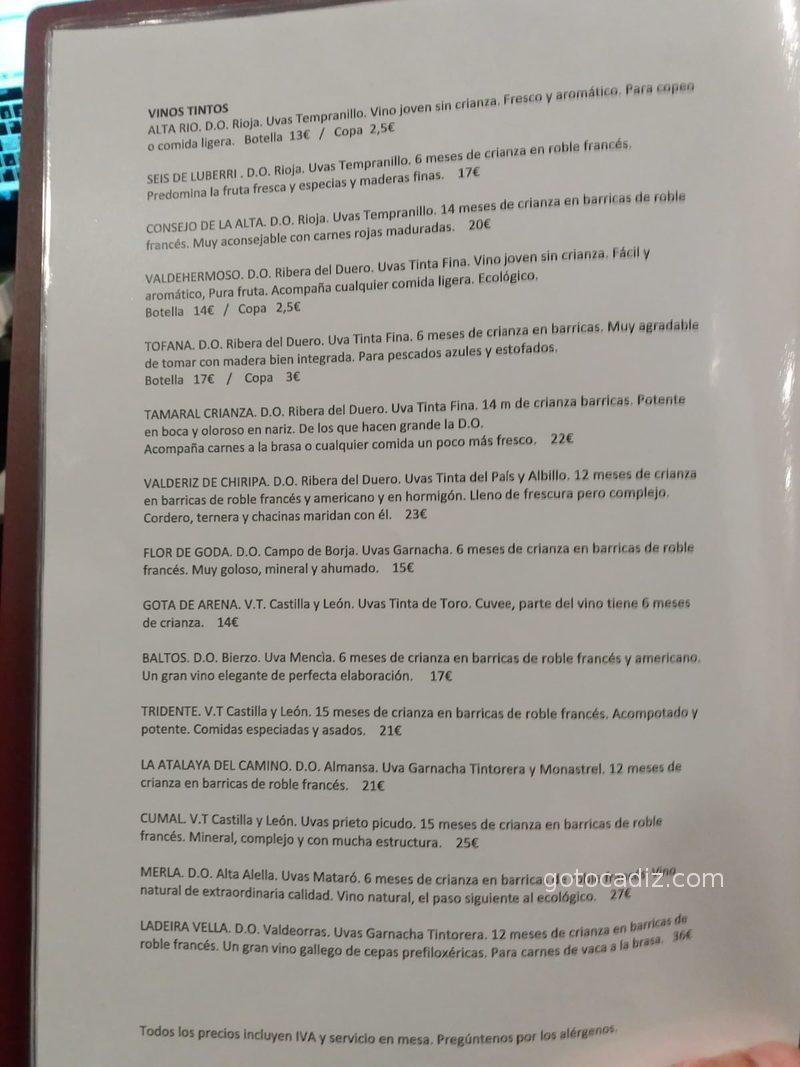 Carta de vinos de El Cantón de Chiclana 3/3