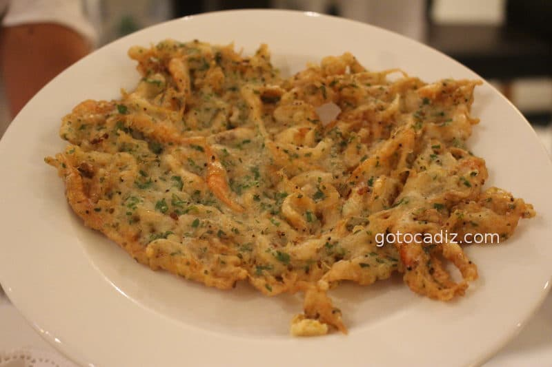 Tortillita de camarones de El Faro del Puerto ¡deliciosa!