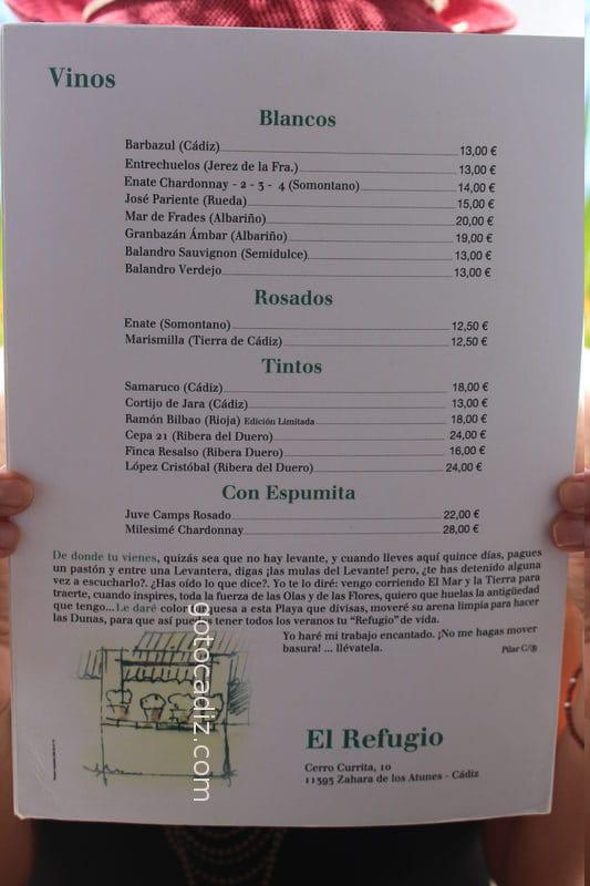 Carta de vinos de El Refugio