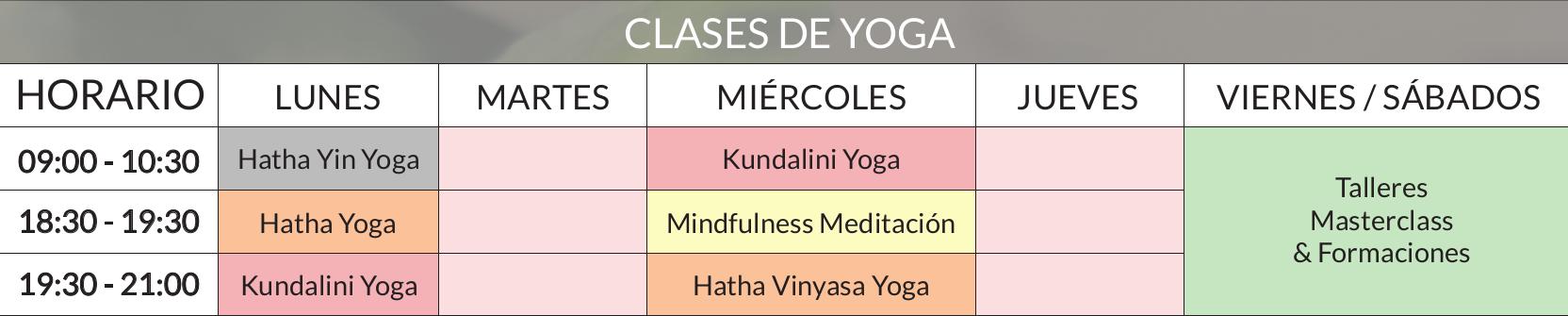 Horarios de las clases de yoga en Vejer de la Frontera