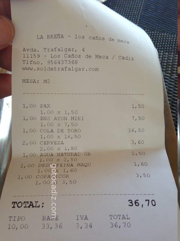 Cuenta de 1 comensal en La Breña