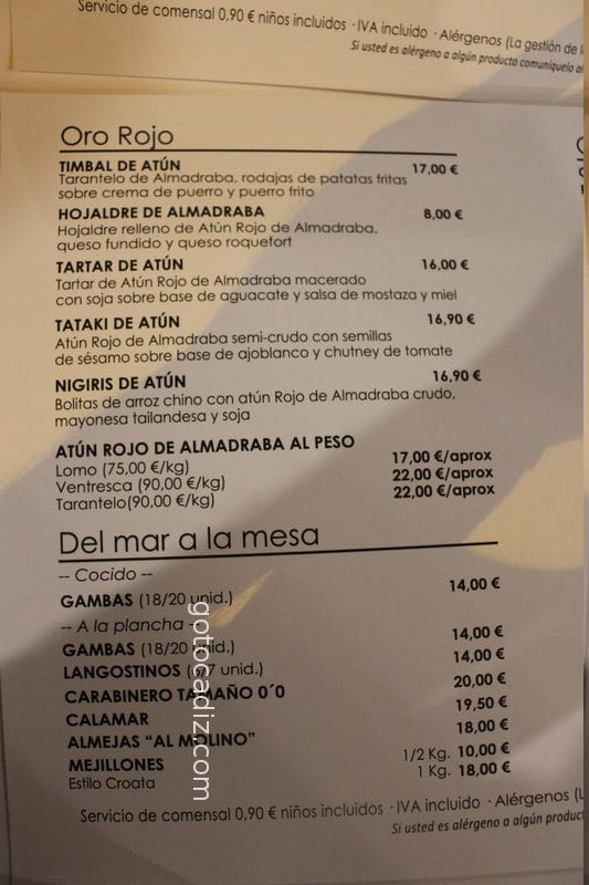 Carta de El Molino Playa 2/4