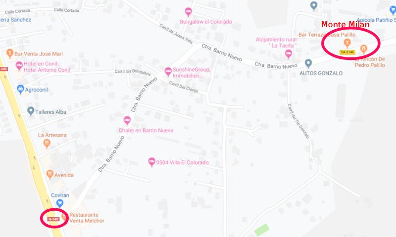 Mapa para llegar a Monte Milan desde la Venta Melchor