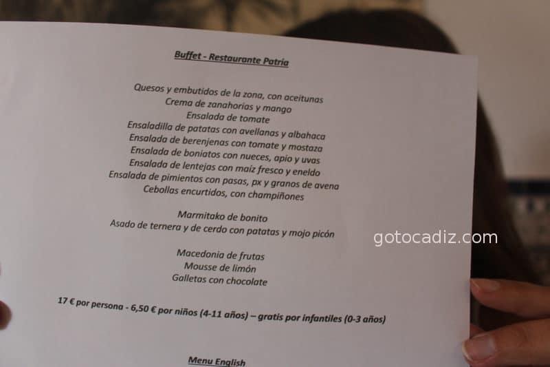 Carta del buffet de Patria