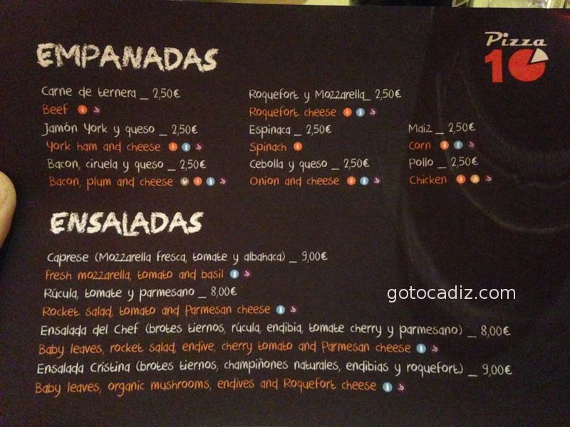 Carta de Pizza 10 1/7
