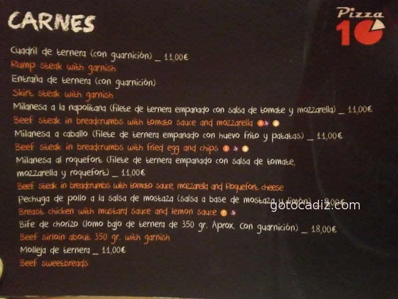 Carta de Pizza 10 5/7