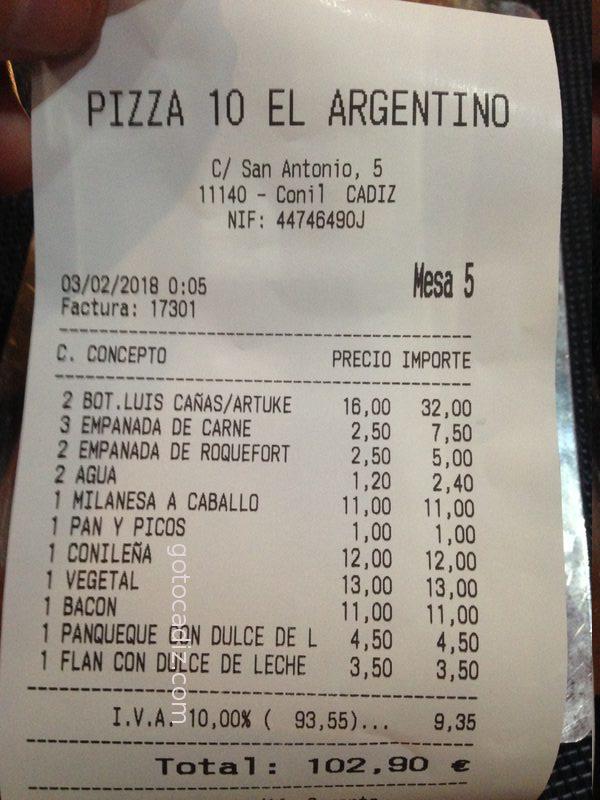 Cuenta de 4 comensales de Pizza 10