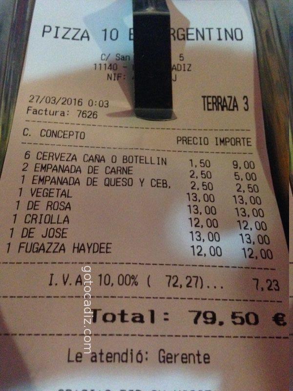 Cuenta de5 comensales de Pizza 10