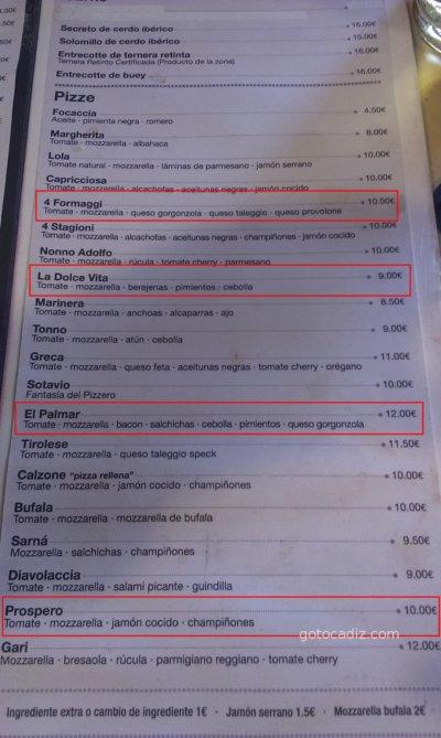 Carta de pizzas de La Dolce Vita El Palmar (Vejer)