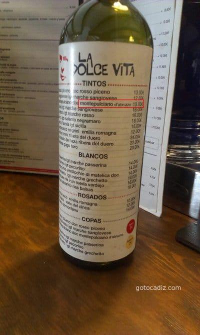 Carta de vinos de La Dolce Vita El Palmar (Vejer)