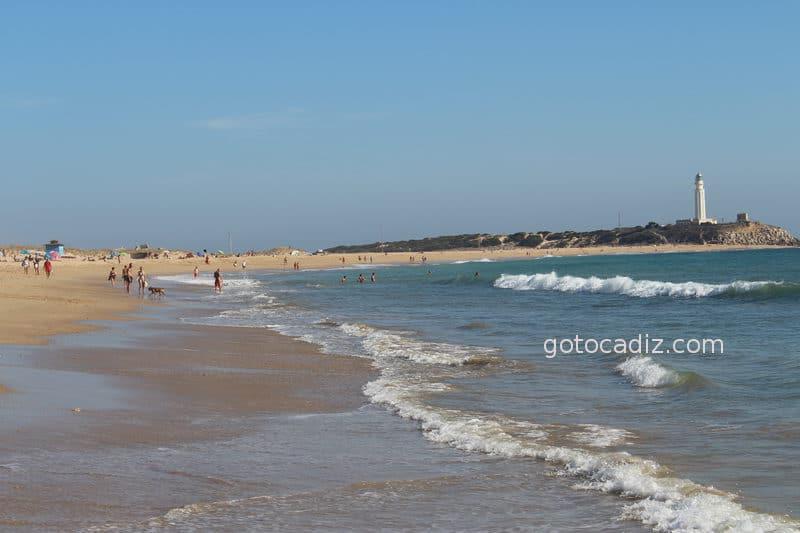 Playa del Faro de Trafalgar en marea alta