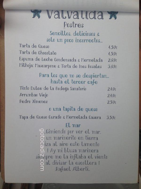 Carta de postres de Valvatida