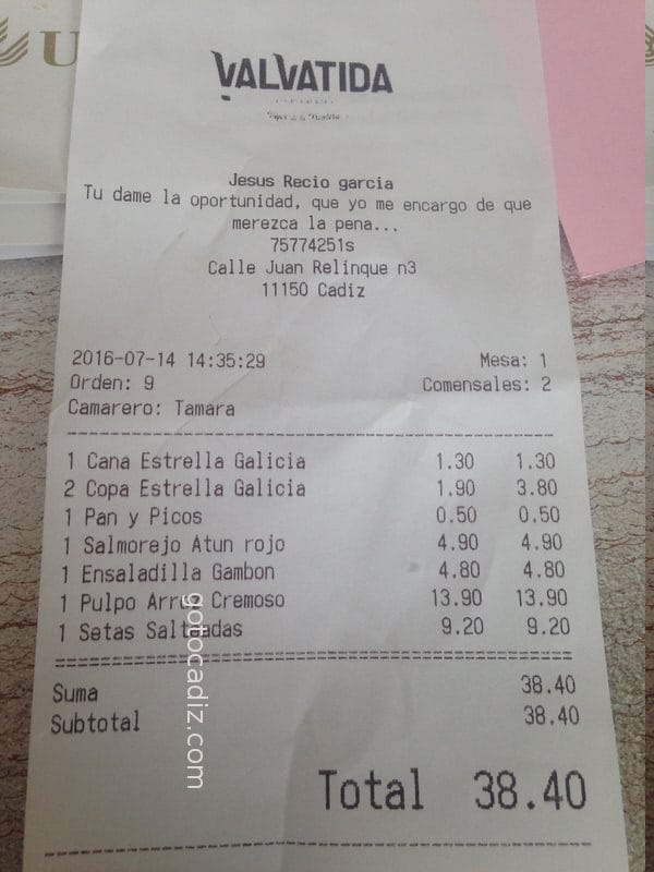 Cuenta de 2 comensales en Valvatida